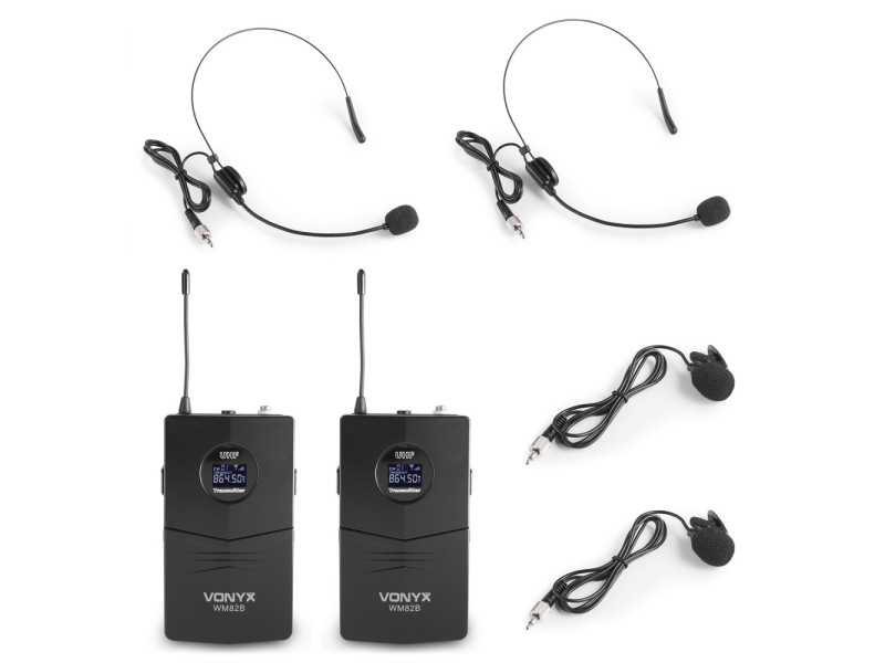 Vonyx WM82 Digital UHF 2-Channel Wireless Microphone Set with 2 Bodypacks