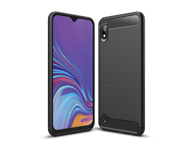 Carbon Case Flexible Cover TPU Case for Samsung Galaxy A10 black
