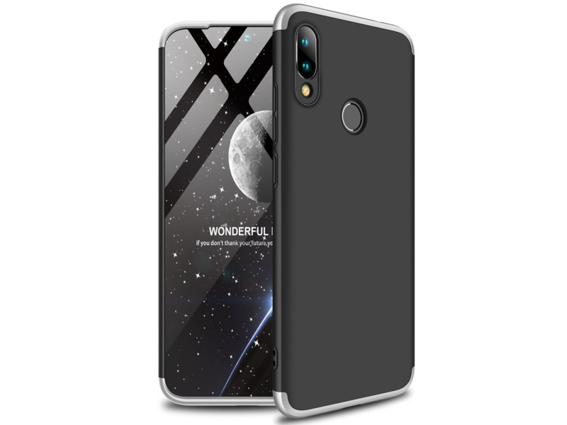 GKK 360 Protection Case Front and Back Case Full Body Cover Xiaomi Redmi 7 black-silver