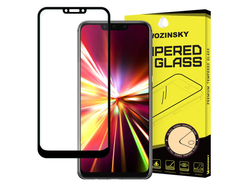 Wozinsky Tempered Glass Full Glue Super Tough Screen Protector Full Coveraged with Frame Case Friendly for Huawei Mate 20 Lite black