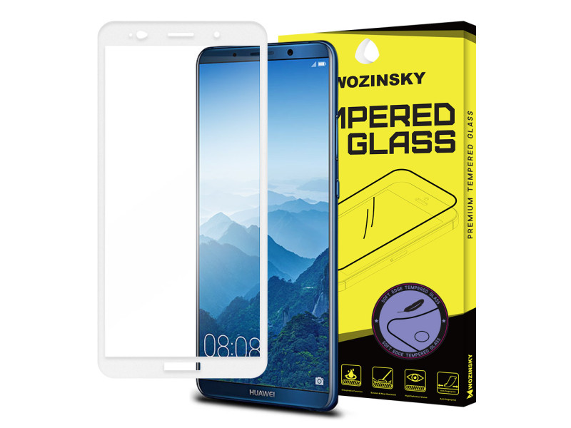 Wozinsky tempered glass screen protector full coveraged with soft frame 9H for Huawei Mate 10 Pro white