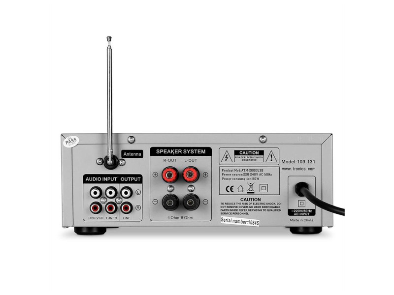 Skytronic Karaoke Amplifier FM/USB/SD Silver